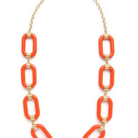 Kenneth Jay Lane Large Orange & Gold Link Necklace