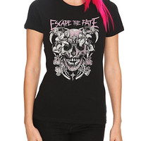 Escape The Fate Flower Skull Girls T-Shirt | Hot Topic
