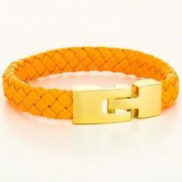 *Braided Genuine Leather Bracelet Orange