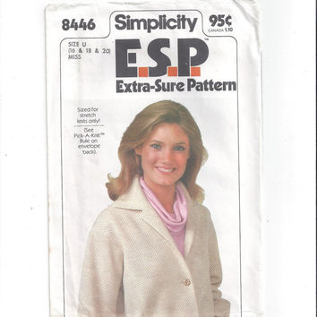 Simplicity 8446 Pattern E.S.P. Extra Sure Pattern for Misses' Unlined Jacket, Sizes 16, 18, & 20, 1978, Stretch Knits Only, Vintage Pattern