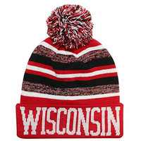 Wisconsin Thick Warm Cuffed Blending Color Beanie Winter Hat Cap with Pom and Stripes One Size Adult Red/Black