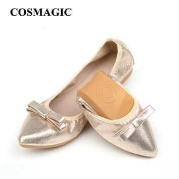 2017 New Spring Women Ballet Flats Handmade Bowtie Pointed Toe Folding Flats Soft Walking Driving Dancing Shoes Free Shipping