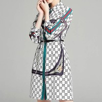 GUCCI New fashion stripe more letter print retro long sleeve dress White