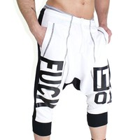 Fuck it Drop Crotch Jogger Shorts- Black