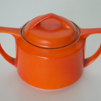 Orange sugar bowl Vintage Okwan China Hand painted by SCAVENGENIUS