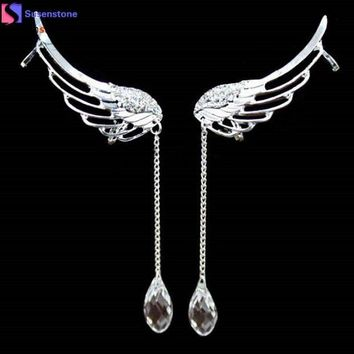 ICIKU7Q Elegant Angel Wing Crystal Earrings Drop Dangle Ear Stud Cuff Clip