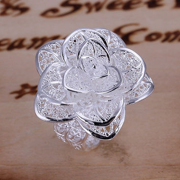 Women Fashion Flower Ring 925 Sterling Silver Plated Jewelry Size 8 FREE SHIPPING