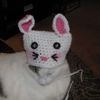 Easter Bunny Pet Hat for a Dog or Cat Handmade Crochet