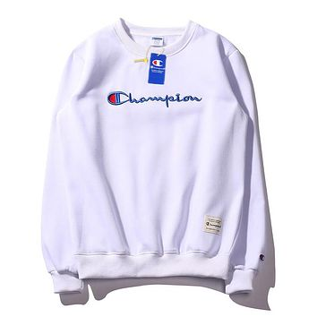 Champion fashion casual embroidered round neck versatile loose sweater White