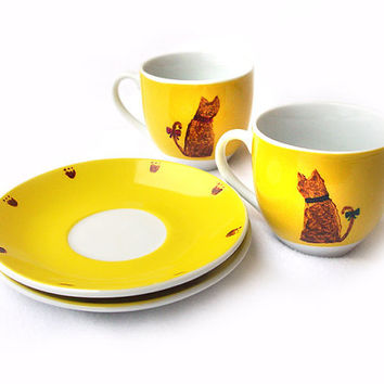 Cat Cup Set with Saucers, Espresso Cup Set, Hand Painted Porcelain, Yellow