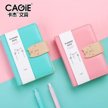 4pcs PU Leather Cover Planner Notebook Cat Travel Journal A7 Spiral Diary Book Exercise Composition Binding Note Notepad Gift