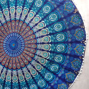 Turquoise blue Mandala Round beach throw, mandala Table cover ,Bed throw ,mandala yoga mat ,round beach towel ,hippie,mandala roundie ,round