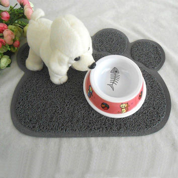 Pet Dog Puppy Cat Feeding Mat Pad Colorful Paw Bone Rectangle Shape Placemat Cleaning Table Mats PVC Bed Dish Bowl Pet Supplies