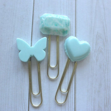 Set of 3 Planner Clips - Pastel Mint Green Butterfly, Gem and Macaron Shapes with Gold Plated Clips Decorate Your Diary Scrapbook Book Mark