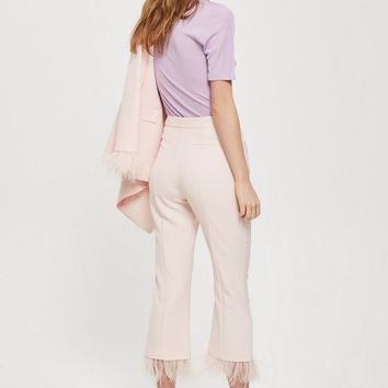 Marabou Trim Trousers | Topshop