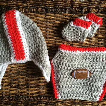 Ohio State Theme OSU Crochet Baby Gift Set Helmet Hat Diaper Cover Booties Football