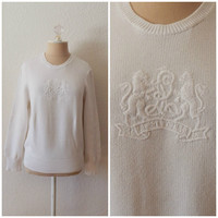 Womens Vintage Ralph Lauren Insignia Crest Embossed White Knit Pullover Sweater