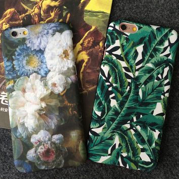 Floral Leaf iPhone 5se 5s 6 6s Plus Case Cover for iPhone 7 7Plus & iPhone 6s 6 Plus & iPhone X 8 Plus with Gift Box
