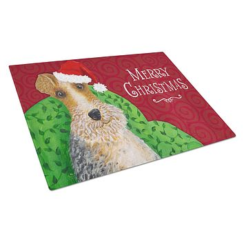Wire Fox Terrier Christmas Glass Cutting Board Large VHA3040LCB