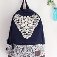 Fashion Lace Backpack with Crochet-blue