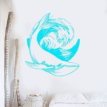 Vinyl Wall Decal Sea Ocean Whale Style Animal Wave Stickers (2813ig)