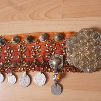 Orange tribal bellydance belt