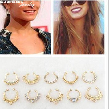 ac PEAPO2Q SINSHI 2017Gold Clicker Fake Septum Rings And Studs For Women And Men Body Jewelry Punk Faux Clip Rings Crystal Hoop Nose Rings