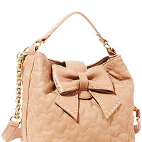 BetseyJohnson.com - WILL YOU BE MINE BUCKET TOTE TAN