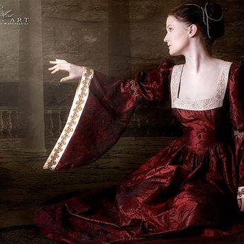 wine red renaissance dress, wedding dress bordeaux, historical, medieval.