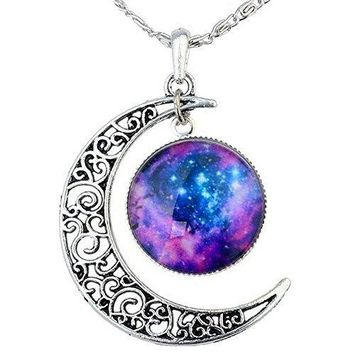 AUGUAU FANSING Valentine's Day Gift Galaxy Necklace Christmas Gifts Crescent Star Galactic Cosmic Moon Charm Crystal Necklaces