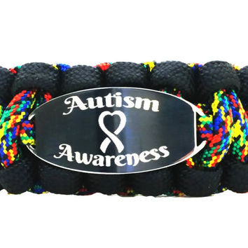 Autism Awareness 550 Paracord Bracelet with Engraved Stainless Steel ID Tag