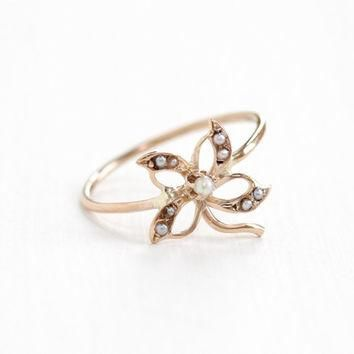 Antique Art Nouveau 10k Rose Gold Seed Pearl Flower Ring - Vintage Early 1900s Edwardi