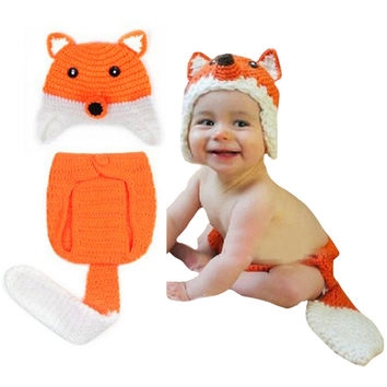 Hot 2015 Creative Safety Newborn Baby Hats 0-9 Month Baby Knit Crochet Caps Clothes Photo Prop Outfits Fox Pattern @ZJF