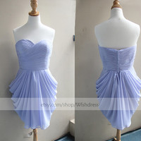 Handmade Sweetheart Lavender Bridesmaid Dress/ Cocktail Dress/ Wedding Party Dress/ Short Prom Dress