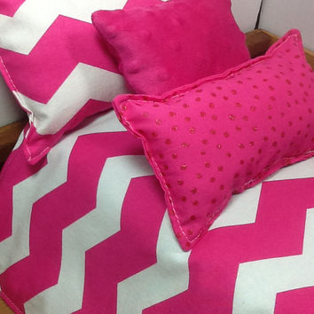 Pink chevron doll bedding, 18 inch dolls, comforter, matching pillow, plush dot pillow, pink glitter dot pillow, reverses to pink lattice