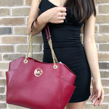 Michael Kors Patent Saffiano Cherry Red Jet Set Travel Chain Shoulder Tote Bag