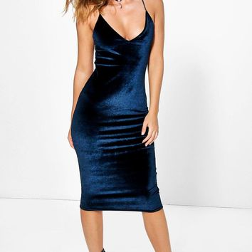 Lila Velvet Strappy Slip Dress