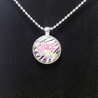 "Color Guard Zebra Themed 1"" Pendant Necklace"