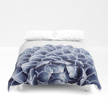 Succulent splendour - chambray Duvet Cover by Gale Switzer