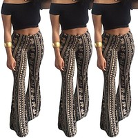 Bohemian Print Middle Waist Long Bell-bottomed Pants