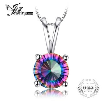 JewelryPalace Round Genuine Mystical Fire Rainbow Topaz Pendant Real 925 Sterling Silver Brand Jewerly For Women Without a Chain