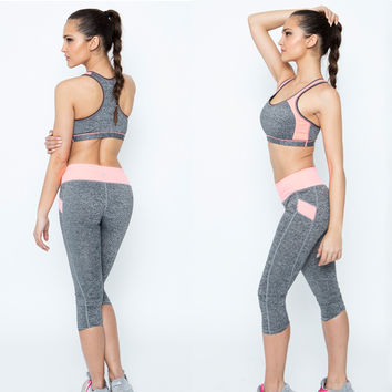 Yoga Tracksuit - Padded Bra Tops & Elastic Capris Yoga Pants Set