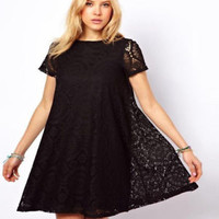 Short Sleeves Black/Navy/White Lace T-shirt Blouse