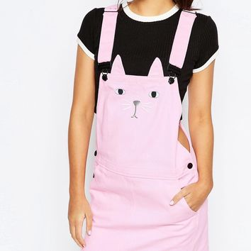 Lazy Oaf Pinafore Overall Dress With Cat Face