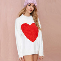 White Heart Print Knitted Sweatshirt