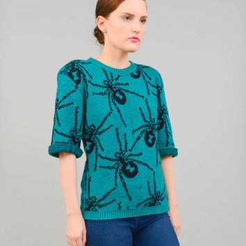 Vintage 80s Teal Green Betsey Johnson Novelty Punk SPIDER Sweater Wool Blend Fitted Knit Jumper XS S M