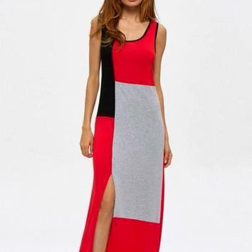 Color Block Split Sleeveless Women's Maxi Dress