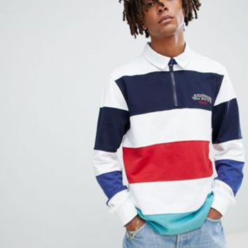 Billionaire Boys Club striped zip long sleeve rugby shirt in white at asos.com