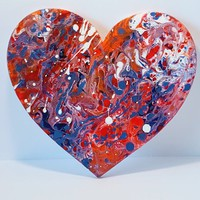 Heart Sign -Fluid Abstract Art- Original Sign- Ready to Hang- Home Decor- Wall Art- Heart Wall Decor- Valentine gifts- Gifts for her-Hearts