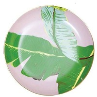 Botanical Banana Leaf Design Appetizer Plates (Set/4)